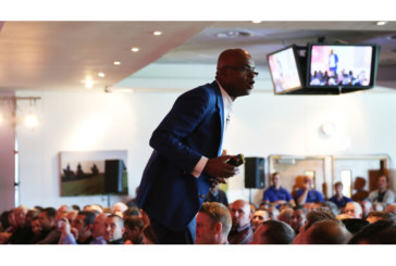 Kriss Akabusi delivers speech at Live South