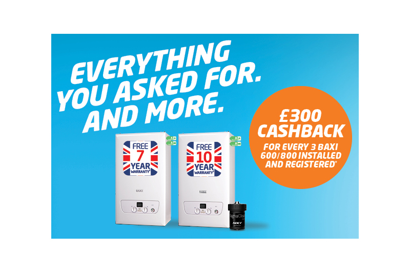 Baxi 800 range launches with cashback offers and prize draws