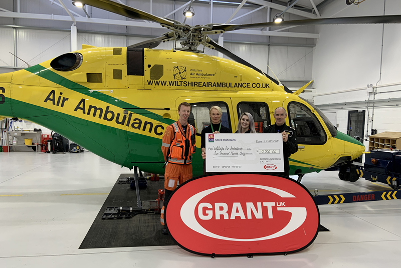 Grant UK donates £10,000 to Wiltshire Air Ambulance