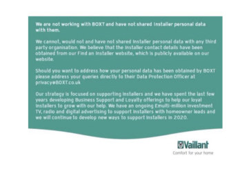 Clarification from Vaillant regarding BOXT