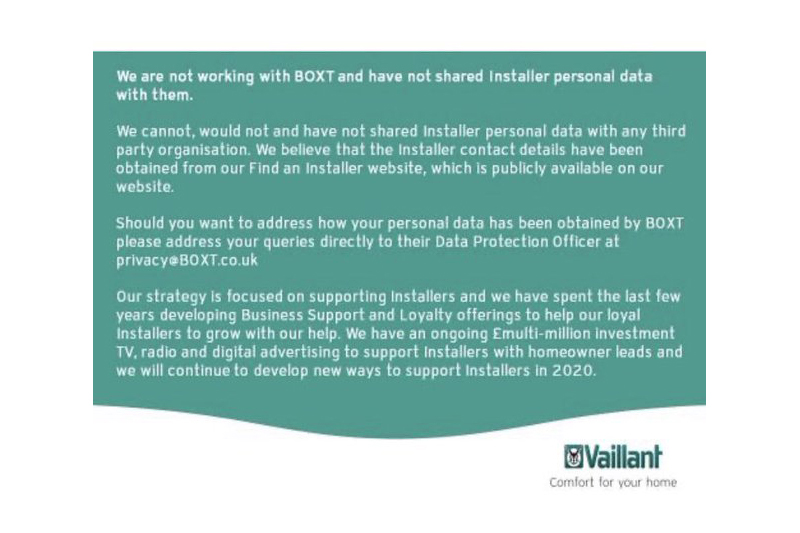 Clarification from Vaillant regarding BOXT
